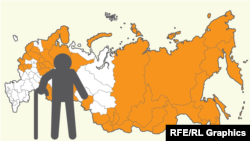 RFE/RL. Russia - life expectancy and retirement age. Dark yellow marks 47 regions in Russia where people do not live to the newly proposed retirement age of 65 years. White marks regions where people live beyond 65 years of age.