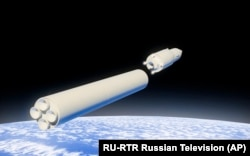 In this video grab provided by RU-RTR Russian television via AP television on Thursday, March 1, 2018, a computer simulation shows the Avangard hypersonic vehicle being released from booster rockets.