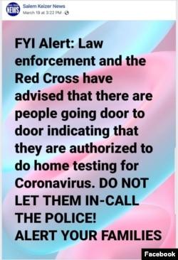 Coronavirus Scam Test Warning on Facebook