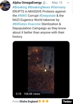 Screenshot of Twitter post with misidentified video