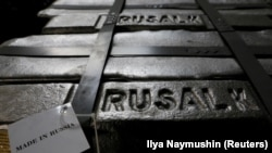 RUSSIA -- Aluminium ingots are seen stored at the foundry shop of the Rusal Krasnoyarsk aluminium smelter in Krasnoyarsk, Siberia, July 27, 2016