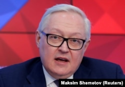RUSSIA -- Russian Deputy Foreign Minister Sergei Ryabkov speaks during a news conference in Moscow, February 7, 2019