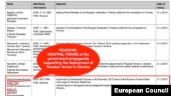 Screen grab from the EU sanctions List regarding Dmitry Kiselyov