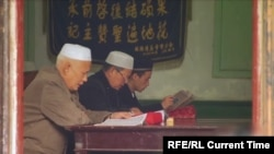 China -- Ethnic Kazakhs pray in mosque of a Chinese autonomous region of Xinjiang