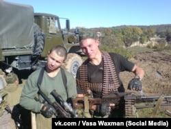 Vasily Kudrichev (r), Wagner PMC mercenary, who died in Syria, in Deir ez-Zor battle on February 7, 2018, pictured in Chechnya.