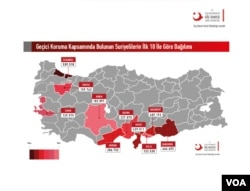 Turkish government report showing the locations and numbers of Syrian refugees in the country