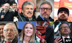 Eight candidates running in Russia's March 18 presidential election, 2018.