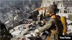 "A screen capture from YouTube of the first-person shooter Metro Exodus, where players can obtain a so-called ""Decommunization Achievement"" by destroying a Statue of Lenin."