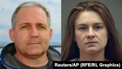 A combo photo shows Paul Whelan and Maria Butina.