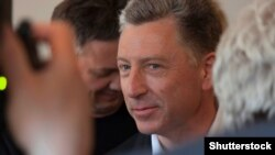 UKRAINE – Kurt Volker, Special Representative of the US Department of State for Ukraine, in Slavyansk among journalists and visitors to the press-center. Donetsk Region, Sloviansk, May 15, 2018.