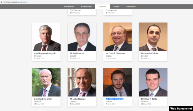 The board of directors page on the British Syrian Society website. John Holmes appears in the bottom row, second from the left.
