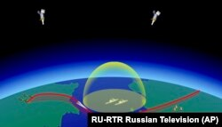 In this video grab provided by RU-RTR Russian television via AP television on Thursday, March 1, 2018, a computer simulation shows the Avangard hypersonic vehicle maneuvering to bypass missile defenses.