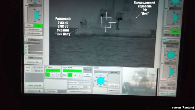 UKRAINE – A screen shows a Russian border guard vessel Don trying to stop a Ukrainian Navy tug boat as three Ukrainian ships make a journey from the Black Sea port of Odessa via the Kerch Strait to Mariupol on the Sea of Azov. 25Nov2018