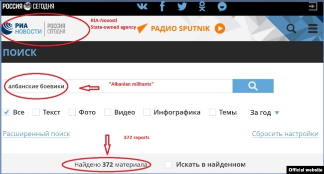"""Screen grab of the RIA-Novosti webpage with search results for """"Albanian militants"""""""