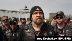 "RUSSIA -- Leader of the Night Wolves Russian motorcycle club Aleksandr Zaldostanov aka ""Khirurg"" (Surgeon) speaks before the start of their motorcycle race from Moscow to Berlin 'Victory Roads to Berlin 2019' in Moscow, April 26, 2019"
