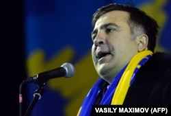 UKRAINE – Former Georgian President Mikheil Saakashvili delivers a speech on Independence Square in Kyiv on December 7, 2013