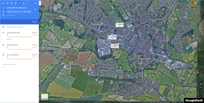 A screen capture from Google Maps showing the distance from the Salisbury Cathedral to the Skripal's home.