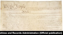 The first page of the original text of the Constitution of the United States.