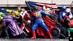 Monument of the Soviet Army in Sofia repainted by pranksters to look like American Superheroes