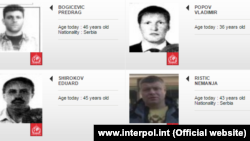The Interpol images of Predrag Bogicevic, Vladimir Popov, Eduard Shirokov and Nemanja Ristic, suspects for the assassination attempt and coup in Montenegro in 2016, undated