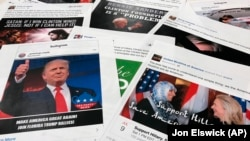 U.S. -- Some of the Facebook and Instagram ads linked to a Russian effort to disrupt the American political process and stir up tensions around divisive social issues, released by members of the U.S. House Intelligence committee, are photographed in Washington.