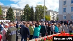 RUSSIA -- People gather for the funerals of five Russian nuclear engineers killed by a rocket explosion in Sarov, August 12, 2019