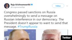 Congressman Raja Krishnamoorthi (D-IL) tweets about the U.S. 'oligarchs list' on January 30, 2018