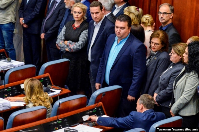 MACEDONIA, A group of opposition members of the VMRO-DPMNE stand to boycott the vote as the Macedonian parliament passed constitutional changes to allow the Balkan country to change its name to the Republic of North Macedonia, in Skopje, Macedonia, October 19
