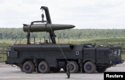 Russian Iskander tactical missile system capable of delivering a nuclear-tipped missile at the Army-2015 international military-technical forum in Kubinka, outside Moscow, June 17, 2015.