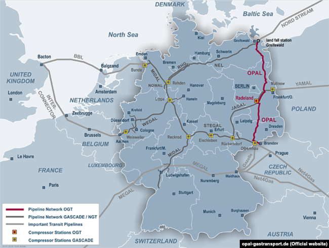MAP -- OPAL natural gas pipelne in Germany
