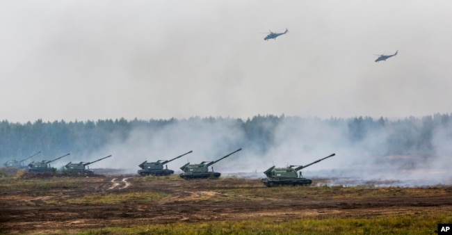 Russia and Belarus taking part in military exercises Zapad in Borisov, Belarus, September 20, 2017.