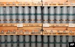 Shells with mustard agent stored at the U.S. Army's Pueblo chemical storage facility in Pueblo, Colorado, USA. On August 31, 2016, the U.S. Army said it plans to start operating a $4.5 billion plant to destroy the nation's largest remaining stockpile of mustard agent.