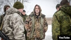 Ukraine -- Russian writer Zakhar Prilepin with militants of group «DPR» and «LPR»