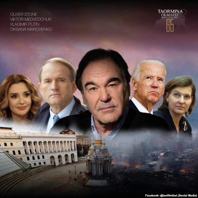 "A poster for Oliver Stone's latest film, ""Revealing Ukraine"", in which he interviews the Russian President Vladimir Putin."