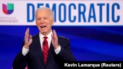 U.S. -- Democratic presidential candidate and former Vice President Joe Biden speaks during the 11th Democratic candidates debate of the 2020 U.S. presidential campaign, held in CNN's Washington studios without an audience because of the global coronavirus.