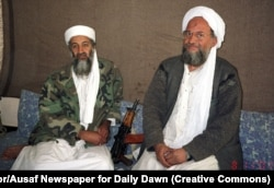 Osama bin Laden (left) sits with his adviser Ayman al-Zawahiri during an interview with Pakistani journalist on May 2, 2011, in Afghanistan.