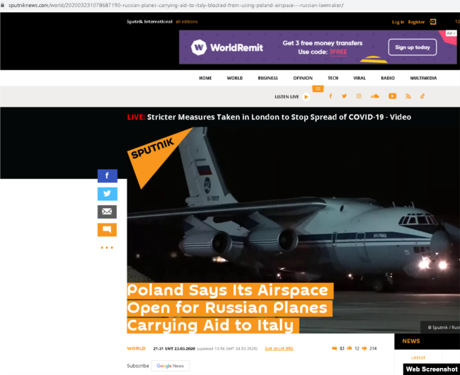 A Sputnik story based on Pushkov's tweet. The story was updated on March 24 with a new headline, but the URL still displays the original.