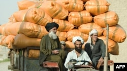 Pashtun villagers transport grain through a settlement near the Kandahar Air Field during a joint patrol between U.S. soldiers and Afghan National Police in Kandahar Province, 2012. The Taliban raise funds by collecting taxes, donations, and extorting villages and businessmen.
