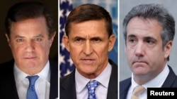 U.S. -- A combo photo shows (L-R) Former Trump's campaign manager Paul Manafort, former U.S. National Security Adviser General Michael Flynn and former lawyer of President Donald Trump Michael Cohen