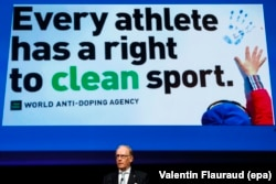 SWITZERLAND - Lawyer Richard McLaren, investigator for WADA, delivers his speech addressing his findings on Russian State-Sponsored doping systems during the opening day of the 2017 WADA conference