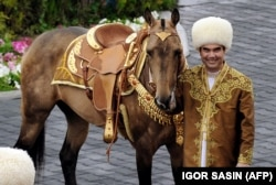 TURKMENISTAN -- Turkmen President Gurbanguly Berdimuhamedov poses with an ancient Akhal-Teke breed three years old studhorse, Begkhan, that won an International Annual Horse Beauty contest in Ashgabat on April 23, 2016.