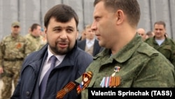 "The current head of the ""DPR"" group Denis Pushilin (L) and the now-dead leader of militants, Alexander Zakharchenko. Occupied Donetsk, May 7, 2016"