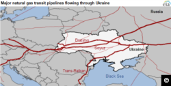 Major natural gas transit pipelines to Europe flowing through Ukraine