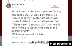 A tweet by Dalati about Dr. Abu Bakr Hanan
