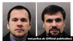 The two suspects charged in the Salisbury attack -- Colonel Anatoily Chepiga (aka Ruslan Boshirov) and Dr. Alexander Mishkin (Alexander Petrov).