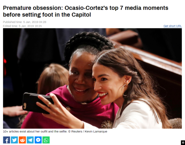 "A screen capture of RT's January, 5, 2019 article, ""Premature obsession: Ocasio-Cortez's top 7 media moments before setting foot in the Capitol."""