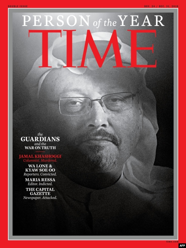 Time Mag chose Jamal Khashoggi as its person of the year 2018