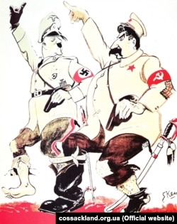 A cartoon about the Molotov-Ribbentrop Pact showing Hitler and Stalin marching together.