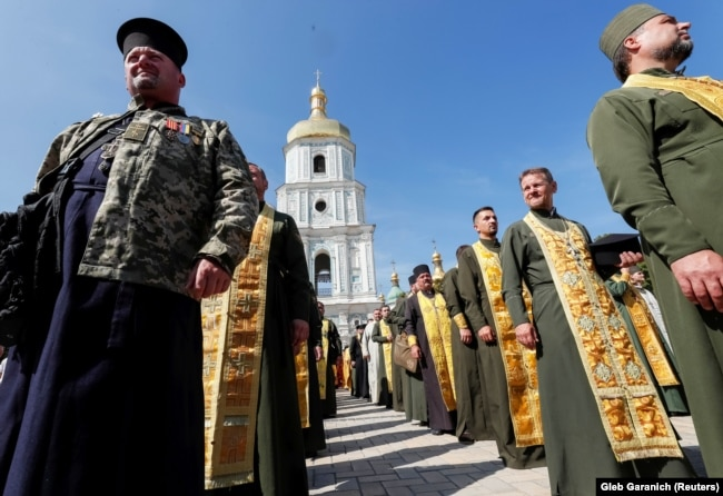 UKRAINE – Military chaplains of Orthodox Church of Ukraine take part in a ceremony marking the 1031st anniversary of the Christianization of the Kyivan Rus, in Kyiv, July 28, 2019