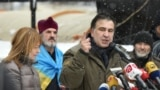UKRAINE -- Former Georgian President Mikheil Saakashvili, accompanied by his wife Sandra Roelofs, addresses his supporters in front of the Parliament building in Kyiv, December 6, 2017